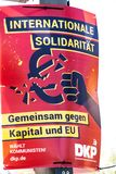 DKP political campaign poster. Berlin, Germany - April 18, 2019: Political campaign poster of the DKP - Deutsche Kommunistische Partei German Communist Party for royalty free stock image