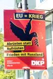 DKP political campaign poster. Berlin, Germany - April 21, 2019: Political campaign poster of the DKP - Deutsche Kommunistische Partei German Communist Party for stock photos