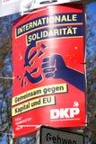 German party DKP political campaign poster. Berlin, Germany - April 16, 2019: Political campaign poster of the DKP - Deutsche Kommunistische Partei German royalty free stock image
