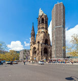 BERLIN, GERMANY - APRIL 2, 2008: Ruin of the imperial church and. The modern belfry on Kurfurstendam Stock Image
