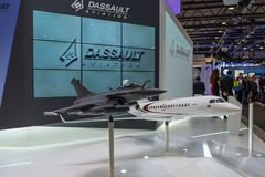 The stand of Dassault Aviation, French aircraft manufacturer of military, regional, and business jets. Stock Photography