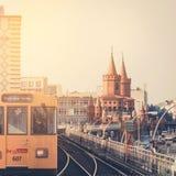 U-Bahn train on Oberbaum Bridge in Berlin Stock Photo