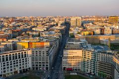 View over city of Berlin from Potsdamer Platz royalty free stock image