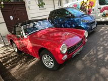 Red MG vintage car royalty free stock photo