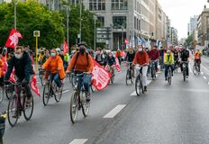 Demonstrators on bicycle protest against cheap and unethical meat production in Berlin