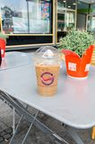 Dunkin` Donuts Iced Coffe. royalty free stock images