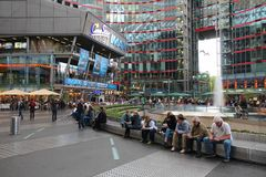 Sony Center, Berlin. BERLIN, GERMANY - AUGUST 26, 2014: People visit Sony Center in Berlin. The modern complex was completed in 2000 and is Sony European Royalty Free Stock Photography