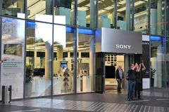 Sony flagship store. BERLIN, GERMANY - AUGUST 26, 2014: People visit Sony Center in Berlin. The modern complex was completed in 2000 and is Sony European Royalty Free Stock Photography