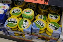 Rama Margarine. Berlin, Germany - August 25, 2017: Rama Margarine for sale. Rama also called Blue Band is a Unilever brand of margarines, cheese spread and royalty free stock photos