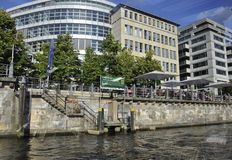 Berlin,Germany-august 27:River Spree Embarkment through the window from Berlin in Germany Stock Images