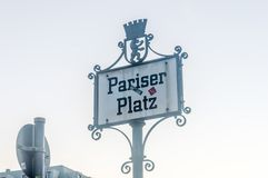 Berlin, Germany - August 16, 2018: Sign of Pariser Platz in Berlin. royalty free stock photography