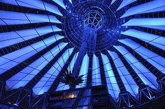 Berlin,Germany-august 27: Sony Center interior in the night from Berlin in Germany. Sony Center interior in the night from Berlin in Germany on a day of august stock photography
