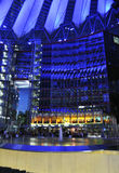 Berlin,Germany-august 27: Sony Center interior in the night from Berlin in Germany. Sony Center interior in the night from Berlin in Germany on a day of august royalty free stock photo