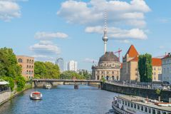 Tourists on river cruises though Berlin on River Spree. BERLIN, GERMANY - AUGUST 26, 2017;  tourists on river cruises though city  on River Spree past Bode Stock Image