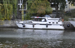 Berlin,Germany-august 27:White Boat on River Spree from Berlin in Germany royalty free stock photo