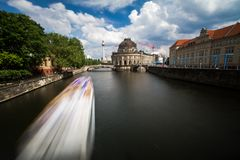 12.8.2018 BERLIN GERMANY Beautiful view of UNESCO World Heritage Site Museumsinsel (Museum Island) with excursion boat on Spree. Beautiful view of UNESCO World stock photo