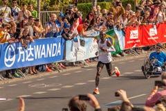 Berlin, Germany, 16.09.2018: BMW Berlin-Marathon 2018. First place men Eliud Kipchoge, Kenya. World record winner royalty free stock image