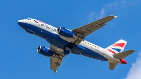 British Airways, Airbus A319. Berlin, Germany, 15.07.2018: British Airways Airbus A319 aircraft flying in the sky, Tegel Airport stock image
