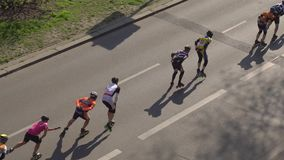Inline speed skating on a highway stock video