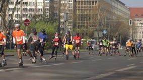 Roller Skating Marathon in Berlin SLOW MOTION stock video