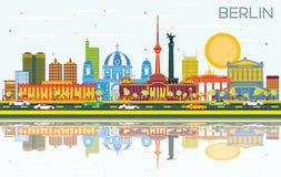 Berlin Germany City Skyline avec les bâtiments de couleur, le ciel bleu et le R illustration stock