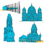 Berlin Germany Colored Landmarks Immagini Stock