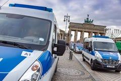 BERLIN, GERMANY - DEC 1, 2018: Anti-immigration demonstration, The Brandenburg Gate, Berlin, Germany. BERLIN, GERMANY - DEC 1, 2018: Anti-immigration royalty free stock photo