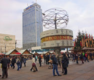 BERLIN, GERMANY - DECEMBER 7, 2014: Alexanderplatz is visited Royalty Free Stock Image