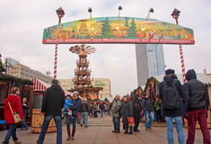 BERLIN, GERMANY - DECEMBER 7, 2014: Alexanderplatz is visited daily by over 300 000 people. on 7 December 2014 in Berlin, Germany. Royalty Free Stock Photo