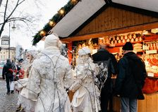 Berlin, Germany - December 9, 2017: Angels at Christmas Market at Charlottenburg Palace of Winter Berlin, Germany. Advent Fair. Decoration and Stalls with stock images