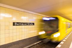 The Bernauer Strasse subway station in Berlin, Germany. Berlin, Germany - December 20, 2017: `Bernauer street` subway stop in Berlin. `Haltebereich Kurzzug` Stock Photos