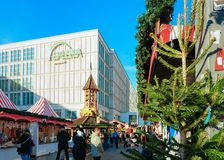 Berlin, Germany - December 10, 2017: Christmas Market at Alexanderplatz in Winter Berlin, Germany. Advent Fair Decoration and. Stalls with Crafts Items, on the royalty free stock photography