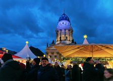Berlin, Germany - December 8, 2017: Christmas Market at Gendarmenmarkt square of Winter Berlin, Germany. The Advent Fair. Decoration and the Stalls with Crafts royalty free stock image