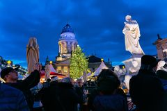 Berlin, Germany - December 8, 2017: Christmas Market at Gendarmenmarkt square of Winter Berlin, Germany. Advent Fair Decoration. And the Stalls with Crafts royalty free stock photos