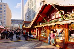 Berlin, Germany - December 10, 2017: Gingerbread cookies stall at Christmas Market at Alexanderplatz in Winter Berlin, Germany. stock photos