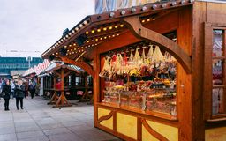 Berlin, Germany - December 10, 2017: Gingerbread cookies stall at Christmas Market at Alexanderplatz in Winter Berlin, Germany. Advent Fair Decoration and royalty free stock photo