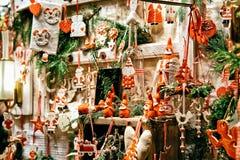 Berlin, Germany - December 8, 2017: Glass Christmas Tree Decorations on Night Market in Gendarmenmarkt in Winter Berlin, Germany. Advent Fair, and Bazaar stock photography