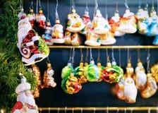 Berlin, Germany - December 8, 2017: Glass Christmas Tree Decorations at Night Market in Gendarmenmarkt in Winter Berlin, Germany. Advent Fair and Bazaar Stalls royalty free stock images