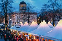 Berlin, Germany - December 9, 2017: Night Christmas Market on Charlottenburg Palace in Winter Berlin, Germany. Advent Fair. Decoration and Stalls with Crafts stock photos