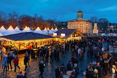 Berlin, Germany - December 9, 2017: Night Christmas Market near Charlottenburg Palace at Winter Berlin, Germany. Advent Fair. Decoration and the Stalls with stock image