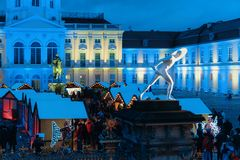 Berlin, Germany - December 9, 2017: Night Christmas Market near Charlottenburg Palace, Winter Berlin, Germany. Advent Fair. Decoration and the Stalls with stock images
