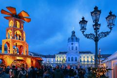 Berlin, Germany - December 9, 2017: Night Christmas Market near Charlottenburg Palace in Winter Berlin, Germany. Advent Fair. Decoration and Stalls with Crafts stock photos