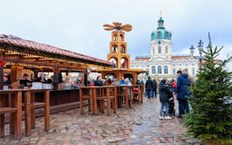 Berlin, Germany - December 9, 2017: People at Christmas Market at Charlottenburg Palace in Winter Berlin, Germany. Advent Fair. Decoration and Stalls with stock image