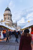 Berlin, Germany - December 8, 2017: People at Christmas Market at Gendarmenmarkt in Winter Berlin, Germany. Advent Fair Decoration. And Stalls with Crafts Items royalty free stock images