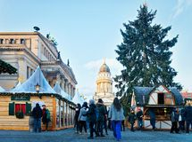 Berlin, Germany - December 8, 2017: People on Christmas Market on Gendarmenmarkt of Winter Berlin, Germany. Advent Fair Decoration. And Stalls with Crafts Items stock images