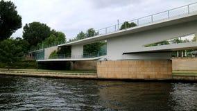 Berlin, Germany_elegant white bridge across the river stock photo