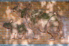 BERLIN, GERMANY/EUROPE - SEPTEMBER 15 : Rhinoceros relief on the Stock Images