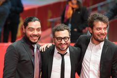 `Museum` Museo premiere during Berlinale 2018. Berlin, Germany - February 24, 2018: Actor Bernardo Velasco, Mexican film director Alonso Ruizpalacios and actor Royalty Free Stock Image