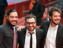 `Museum` Museo premiere during Berlinale 2018. Berlin, Germany - February 24, 2018: Actor Bernardo Velasco, Mexican film director Alonso Ruizpalacios and actor Stock Photo