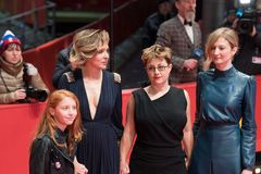`Daughter of Mine` Figlia Mia premiere during Berlinale 2018. Berlin, Germany - February 18, 2018: Actresses Alba Rohrwacher, Valeria Golino, Sara Casu and Stock Photography